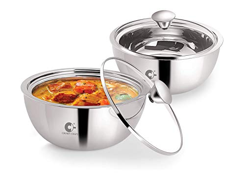 Crown Craft – Gravy Pot Double Wall Insulated Stainless Steel Serve Fresh Casserole with Glass Lid, Set of 2 (500ml Each) Price & Reviews