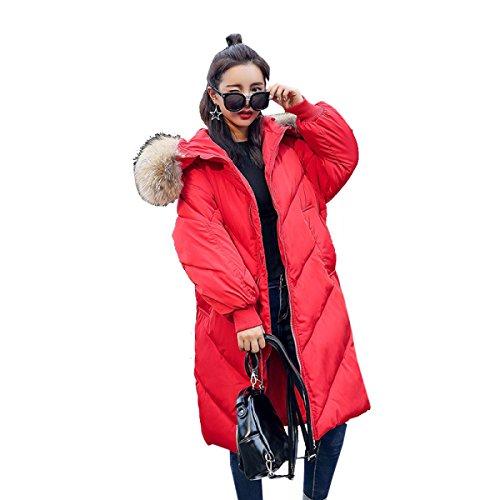Inverno Di Piumino Pelliccia Grande Nihiug Cotone Lungo Outwear Piumino Collare Ginocchio D Sezione Del Cappotto 4wggPqS