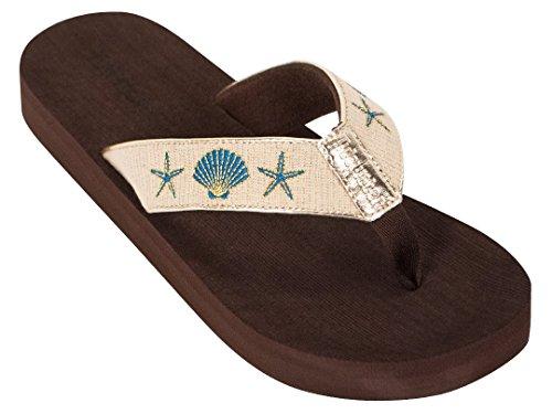 Tidewater Womens Boardwalk Sandals Gold Shells W8