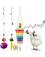 Chickens Xylophone Toy Hen Suspensible Wood Xylophone Music Toy with 8 Metal Keys for Chicken Coop Parrots African Grey Cockatoo Macaws Pecking Toy