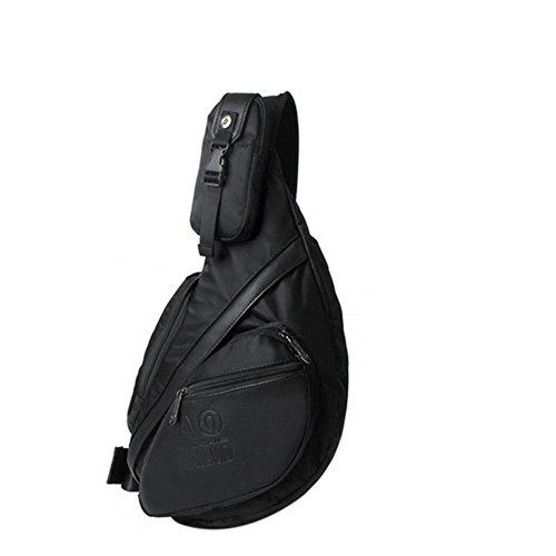 Sunbobo vardaglig bröstväska för män dragkedja vattentät nylon messengerväska axelväska svart