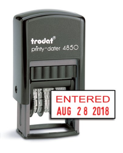 "Trodat 4850 Date Stamp with ""ENTERED"", Self Inking Stamp - Red Ink"