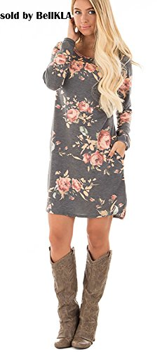 VKVKA Floral Print Maxi Dress with Pocket Short Sleeve Long Tunic Boho Dress for Women (L, Gray) - Gray Floral Dress