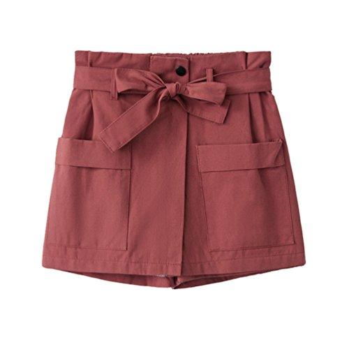 Vita Estate Larga Yiiquanan Scuro Alto da a Sottile Tasca Elegante Gamba con Pantaloncini Doppia Donna Rosso Pantaloni Gonna qqRgHzx