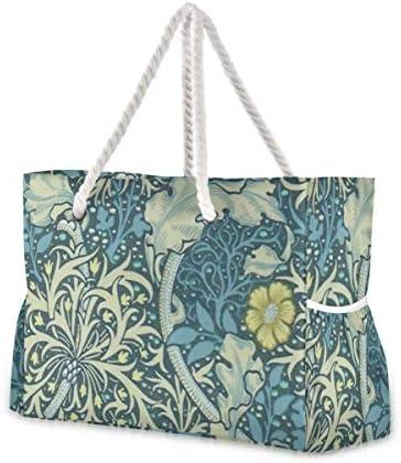 MORITAビーチバッグ プールバッグ トート 大容量 おしゃれ レディース 女の子 レジャー 大きい 大き目 でかい 水着 温泉 旅行 ポーチ 整理 ウィリアム・モリス 海藻パターン