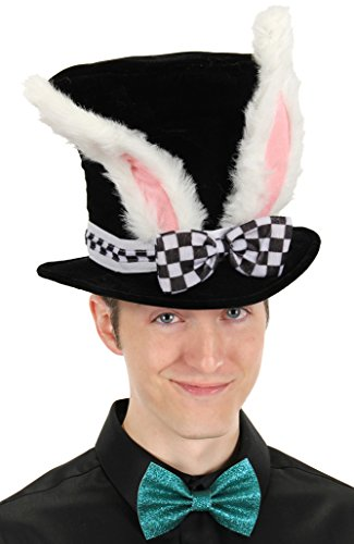 Elope Black Costume Top Hat with White Rabbit Ears ()