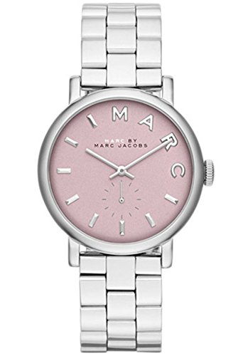 Marc Jacobs Women's Baker Silver-Tone Stainless Steel Pink Dial