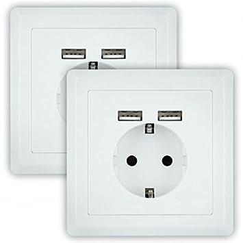 2x Minadax® Schutzkontakt Steckdose mit 2 x USB, Passt in standart ...