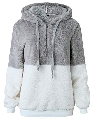 Women Long Sleeve Fleece Pullover Hoodie 1/4 Zip Patchwork Sherpa Sweatshirt Fuzzy Casual Tops Outwear Lightgrey
