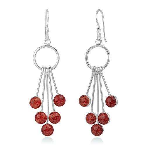 925 Sterling Silver Red Bamboo Sea Coral Dangling Snow Balls Elegant Long Dangle Earrings 2