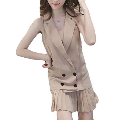 Coolred Piece Vest Women Mid Slip Sun Fashion 2 Dress Set Length Pleated Apricot rqUnxWSrF