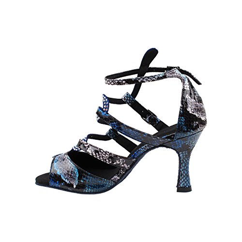 50 Shades Of Blue / Purple Dance Dress Zapatos Collection, Wedding Bombas: Mujeres Zapatos De Salón Para Latinos, Tango, Salsa, Swing, Theather Arte Por Fiestas (2.5, 3 Y 3.5 Talones) Sera7017- Blue Snake