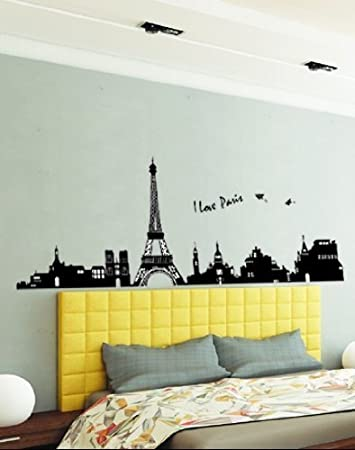 Hunnt I Love Paris Eiffel Tower Sticker Decal for Kids Room Living Room