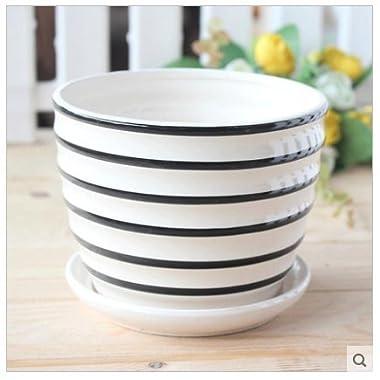 Ceramic Home/ Garden Black and White Stripes Design Flower Pot with Saucer Tray