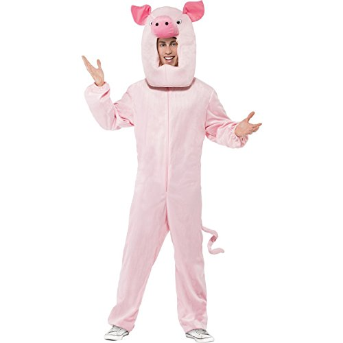 Pig Halloween Costumes (Smiffy's Men's Pig Costume Bodysuit and Hood, Pink, One Size)