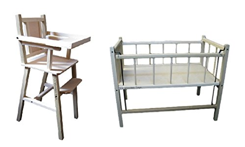 Wooden Toy Doll High Chair and Doll Crib for 18'' high dolls GIFT SET by TCs Wooden Toys