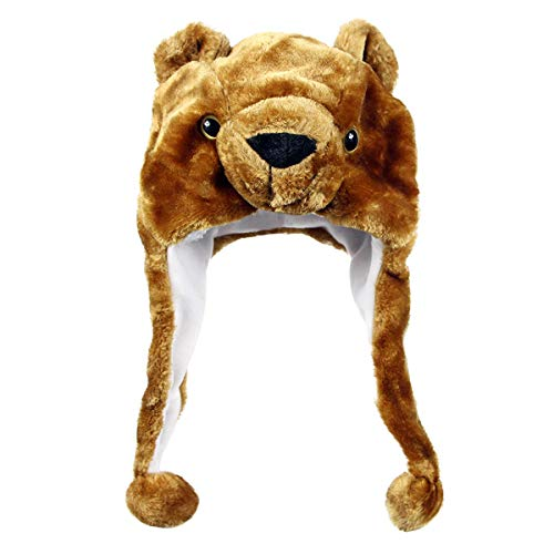 NYKKOLA Plush Faux Fur Animal Critter Hat Cap,Soft Warm Winter Headwear Fun Cute Beanie Hat Polyester Fleece Lining(Bear) ()
