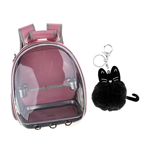 Flameer Clear Cover Parrot Bird Carrier Backpack with Perch, Feeder, Cat Pendant Pink