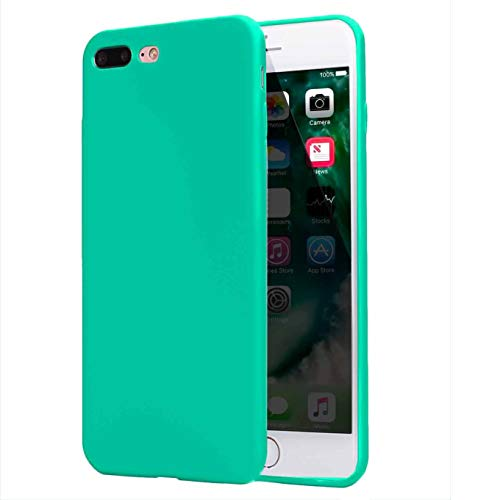 Compatible withiPhone 8 Plus Case 2017,iPhone 7 Plus Case 2016, Thin Slim Fit Soft TPU Rubber Anti-Scratch Shock-Absorption Resistant Shield Bumper Shell Shockproof Protective Mobile Phone Cover,Teal