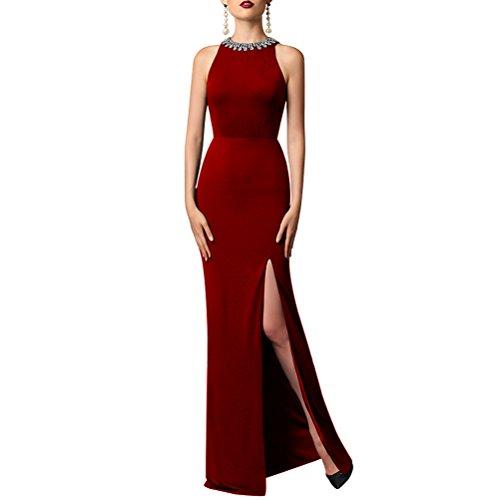 Schlitz Aermellos Abendkleid Ballkleider Bodycon Langes mit Elegantes Aiyana Schwarz Gerade O Burgund Ausschnitt Dame 38 Abiballkleider w1xqnA7