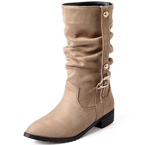 Classic Women Heels COOLCEPT Low Boots Beige Shoes Slouch Mid Fashion Stretch HwYHfUqxB