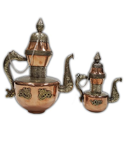 (Solid Brass and Copper Pitcher Arabic Coffee Jug Antique Dragon Copper tea kettle Teapot Pitcher Kitchen Decoration - 2 Sizes (Small))