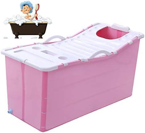 折りたたみバスタブ GYF 折り畳み式バスタブ ポータブル大人用バスタブ プラスチックカバーホーム全身 子供用入浴バケツ 厚くなった大人の浴槽 子供用プールプール117x52x63cm (Color : Pink)