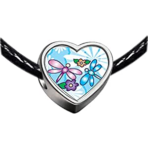 Chicforest Silver Plated Dragonflies And Flowers Photo Heart Charm Beads Fits Pandora Charm Bracelet