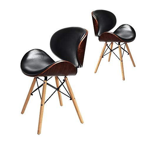 Cchainway Set of 2 Mid-Century Fashion Bar Chair Armless Modern Curved Dining Chairs with PU Leather Cover and Wooden Legs for Kitchen, Dining, Bedroom, Living Room Side Chairs Meeting Chairs, Black
