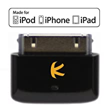 KOKKIA i10s (New Luxurious Black) Tiny Bluetooth iPod Transmitter for iPod/iPhone/iPad. Apple authentication. Remote controls, local iDevice volume control. Works & fits very well with latest iPod 6G Nano, iPod Touch 4th gen, iPhone 4S, iPad 3.