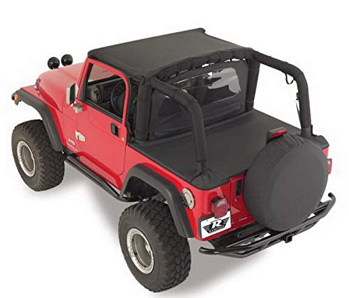 - RAMPAGE PRODUCTS 721015 Tonneau Cover for 1992-1995 Jeep Wrangler YJ, Black Denim
