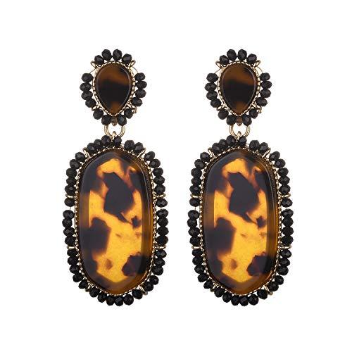 Nicole Miller New York Leopard Print Oblong Shaped Acrylic Black Beads Fashion Dangle Earrings