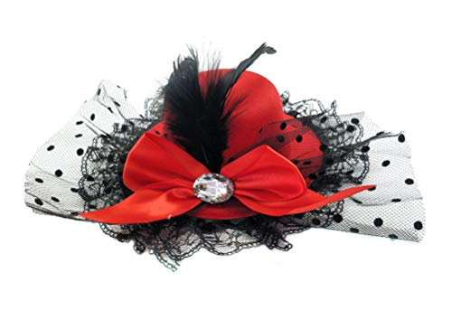Ahugehome Fascinator Punk Mini Top Hat Hair Clip Rose Flower Bow mesh Party Cocktail (B Red)