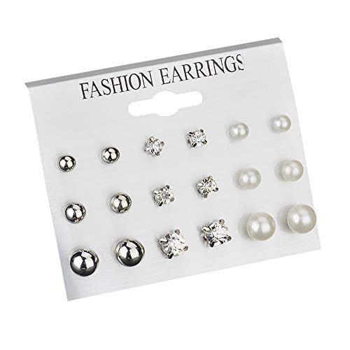MURTIAL Fashion Earrings Ear Ring Set Combination Of 12,9 Sets Of Heart-shaped Earrings Fashion Jewelry