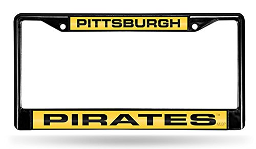 - Pittsburgh Pirates BLACK LASER FRAME Chrome Metal License Plate Cover Tag Red Background Blue Letters Baseball