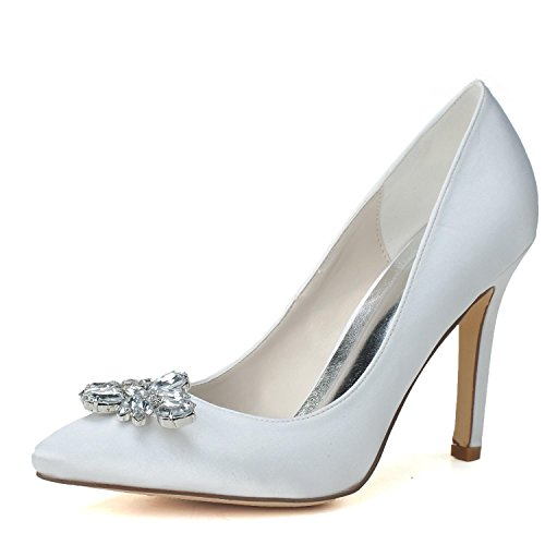 Pompa Belle Alti L amp; F0608 Strass Donna Piattaforma Con Party Scintillante Evening Bianco 05 Da Wedding Tacchi Scarpe yc wEqEZg