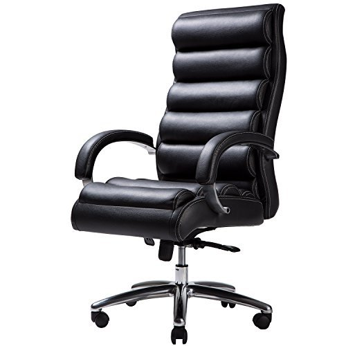 TOPSKY High Back Big & Tall 400 lb Thick Padded Soft Seat and Back Executive PU/PVC Leather Office Chair(Black)