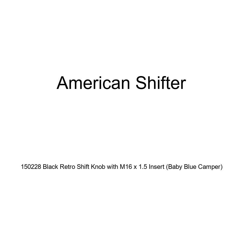 American Shifter 150228 Black Retro Shift Knob with M16 x 1.5 Insert Baby Blue Camper