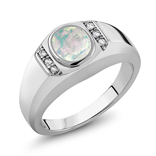 1.11 Ct Oval Cabochon White Simulated Opal White Created Sapphire 925 Sterling Silver Men's Ring by Gem Stone King