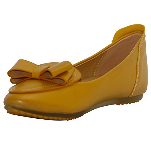 Pull On Pu Shoes Womens AalarDom bows Yellow No Flats Solid Pointed Toe Heel p0OYq