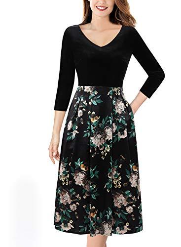 (VFSHOW Womens V Neck Velvet Floral Print Pockets Cocktail A-Line Dress 1633 BLK S)