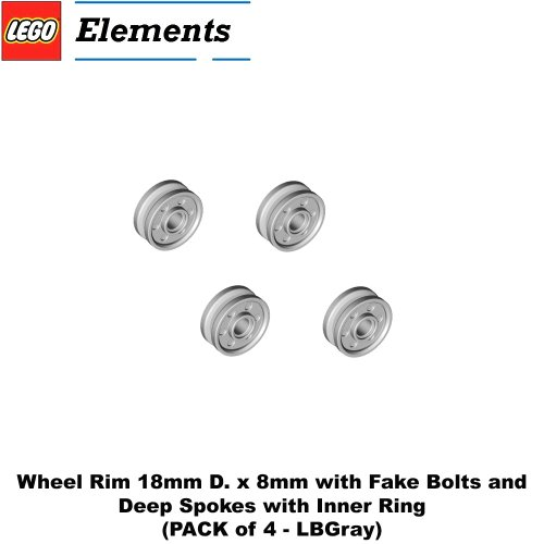 Bolt Inner Ring - Lego Parts: Wheel Rim 18mm D. x 8mm with Fake Bolts and Deep Spokes with Inner Ring (PACK of 4 - LBGray)