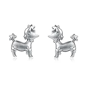 Accesorio LR - Pendientes de plata esterlina con pernos prisioneros para perros de caniche, Regalo de San Valentín para mujeres niñas, adolescentes