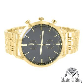Mens Black Dial Watch NY London 14k Solid Yellow Gold Plate Steel Case Analog