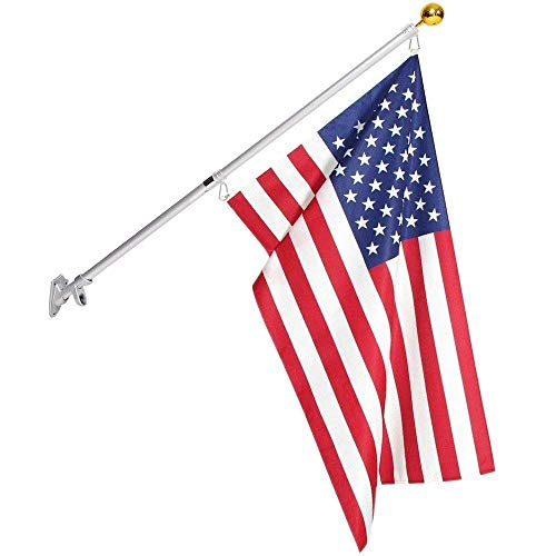 3x5 American Flag and 5 Ft Pole Outdoor Set | Aluminum Spinning Anti-Wrap Telescoping Flagpole House Wall Mount With American Flag and Gold Ball | Residential and Commercial by Frolic Raccoon