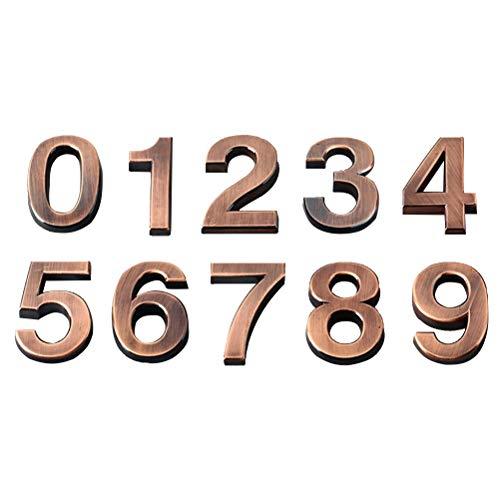 (LIOOBO 10pcs 0-9 Number Sign for House Hotel Door Address Number Plaque Sticker Plate Sign 5CM (Bronze))