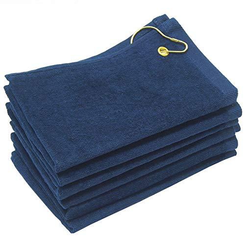 Georgiabags 6 Pack Terry Velour Golf Towels, 11x18 Fingertip Towels, Sport Towels, Corner Grommet & Hook (Navy, -