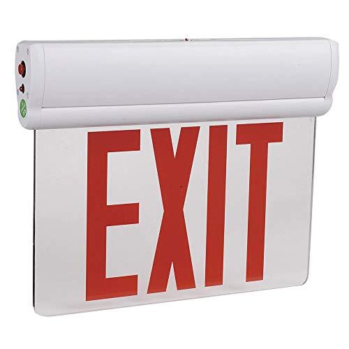 Red LED Edge Lit Exit Sign w/Rechargeable Battery Backup & Adjustable Panel, 3W, AC120V/277V, Ceiling/Left End/Back Mount Emergency Light for Hotel, Restaurant, Hospitals, UL, cUL Listed by - 277 Lit Edge Volt Led