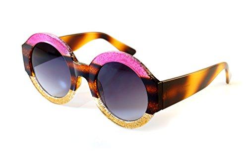 FBL Muse Designer Oversize Retro Round Glitter Bold Temple Sunglasses A121 (Purple Gold/ - Sunglasses Etsy