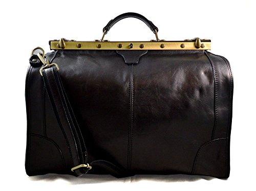 Leather doctor bag mens travel black womens cabin luggage bag leather shoulder bag medical bag doctor bag weekender bag leather carryon ()
